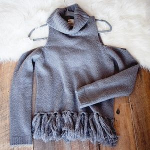 Anthropologie Moon River Gray Sweater M Cold Shldr